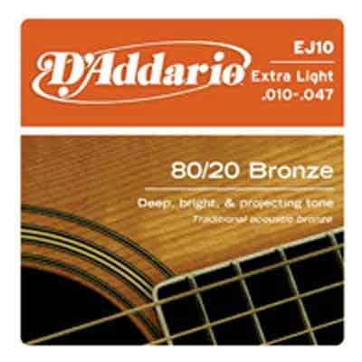 DAddario 80/20 Bronze Round Wound-EJ10, .010-.047 extra light