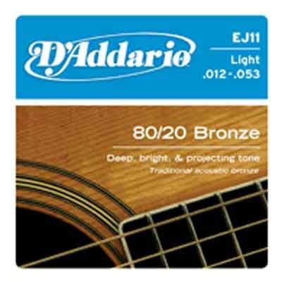 DAddario 80/20 Bronze Round Wound-EJ11, .012-.053 light