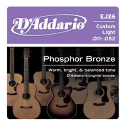 DAddario Phosphor Bronze Round Wound-EJ26, .011-.052 custom light