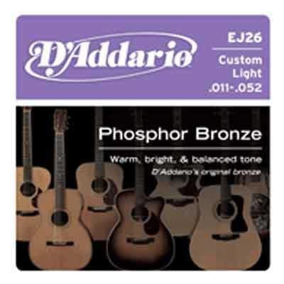 DAddario Phosphor Bronze Round Wound-EJ26, .011-.052 custom light