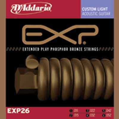 DAddario EXP Coated Phosphor Bronze Round Wound-EXP26, .011-.052 custom light