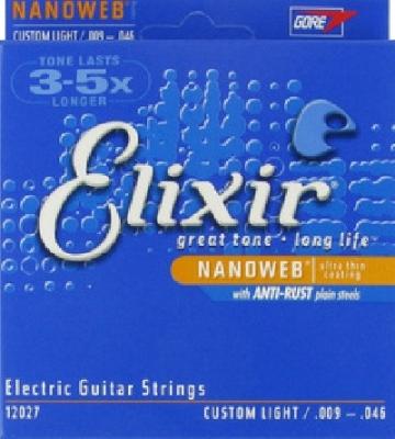 Elixir Electric Guitar Strings Nanoweb 12027, .009-.046 custom light
