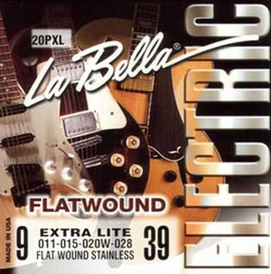 La Bella Flatwound Stainless Steel Electric - 20PXL, .009-.039 extra light