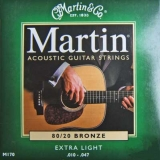 Martin Acoustik Guitar Strings 80/20 Bronze -M170, .010-.047 extra light