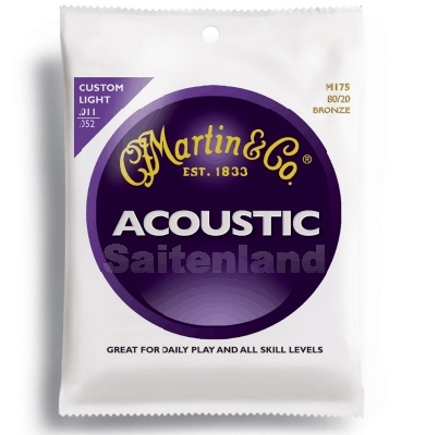 Martin Acoustik Guitar Strings 80/20 Bronze -M175, .011-.052 custom light