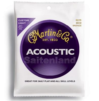 Martin Acoustik Guitar Strings 80/20 Bronze -M175, .011-.052 custom light