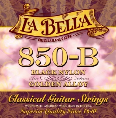 La Bella 850-B Black Nylon, Golden Alloy, medium tension