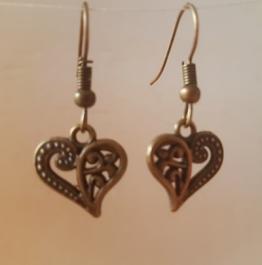 Ohrringchen florales Herz Bronze