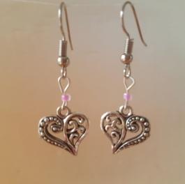 Ohrringchen florales Herz Silber mit rosa Perle
