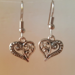 Ohrringchen florales Herz Silber
