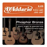 DAddario Phosphor Bronze Round Wound-EJ15, .010-.047 extra light