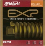 DAddario EXP Coated 80/20 Bronze Round Wound-EXP10, .010-.047 Extra light