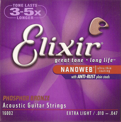 Elixir Nanoweb 16002 Anti Rust Phosphor Bronze, .010-.047 extra light