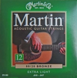 Martin Acoustik Guitar Strings für 12-saitige Gitarre 80/20 Bronze -M180/12, .010-.047 extra light