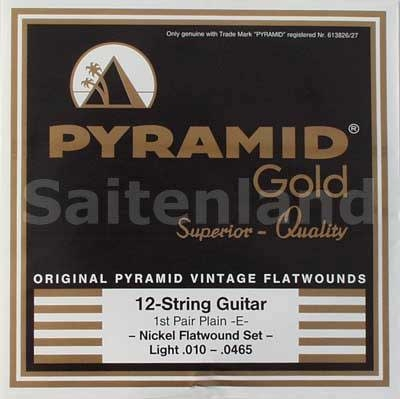 Pyramid Gold 12-Saitig Original Vintage Flatwounds Nickel Flatwounds 310/12, .010-.0465w light